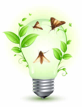 lâmpada verde mariposas