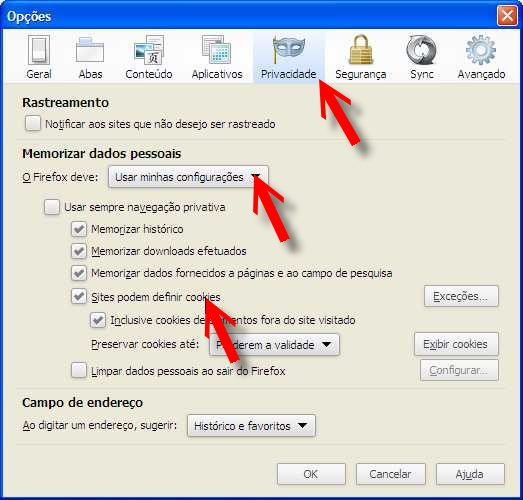 menu privacidade firefox